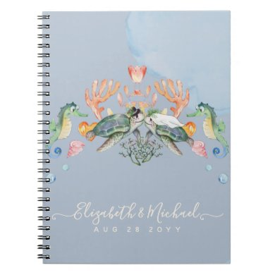 Sea Turtle Wedding Featuring Bride and Groom Notebook
