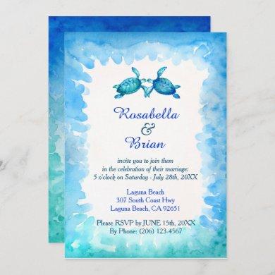 Sea Turtle Wedding Invitations - Blue and Green