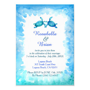 Sea turtle and wedding invitations announcements zazzle sea turtle wedding invitations blue and green stopboris Images