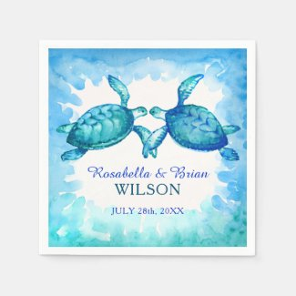 Sea Turtle Wedding Napkins   Blue Green Watercolor