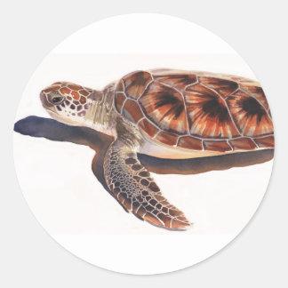 Sea Turtle Wildlife Watercolor Art Round Sticker