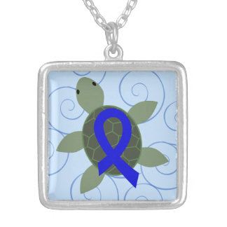 Sea Turtle with Blue Awareness Ribbon Square Pendant Necklace
