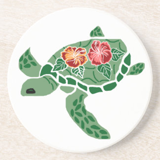 Sea Turtle with Hibiscus Sandstone Coaster