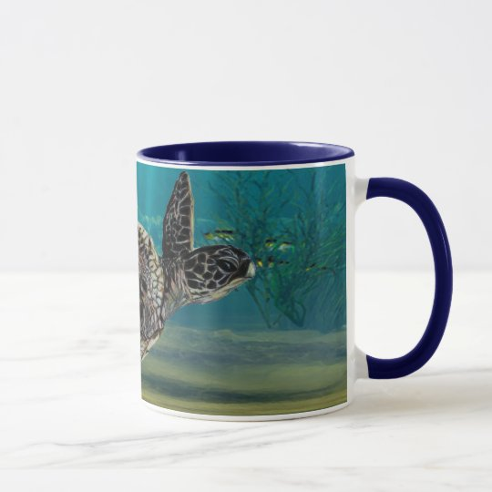 Sea turtle wrap around view mug