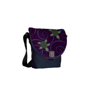 Sea Turtles and Swirls Messenger Bags