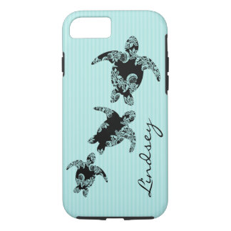 Sea Turtles Aqua Stripe with Name iPhone 7 Case