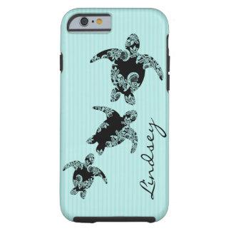 Sea Turtles Aqua Stripe with Name Tough iPhone 6 Case