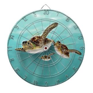 Sea Turtles art print. Dartboard With Darts