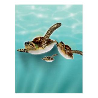 Sea Turtles art print. Postcard