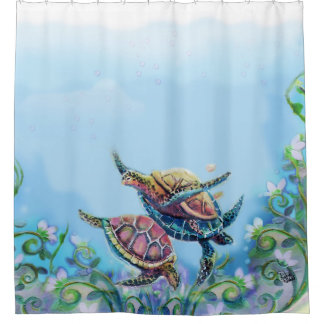 Sea Turtles Bathroom Art Shower Curtain