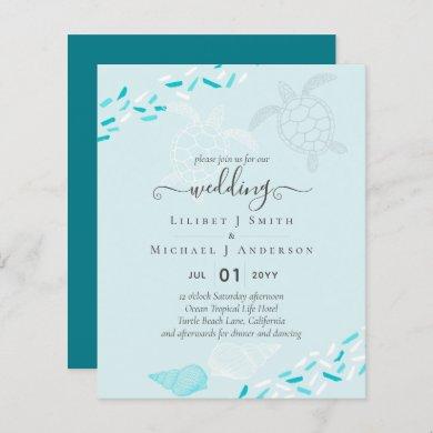 Sea Turtles BEACH Wedding Coral Teal Turquoise