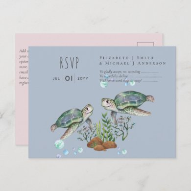 Sea Turtles Beach Wedding Postcard