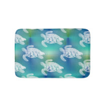 Sea Turtles Blue Aqua Bath Rug