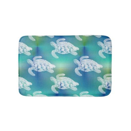 Sea Turtles Blue Aqua Bath Rug Zazzle