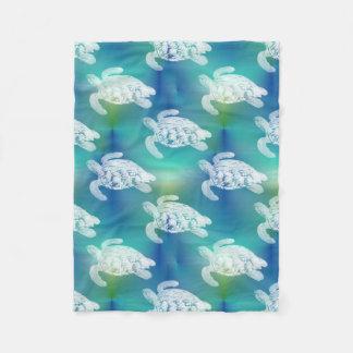 Sea Turtles Blue Aqua Fleece Blanket