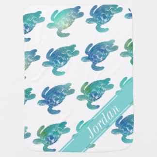 Sea Turtles Blue Green Personalized Baby Blanket