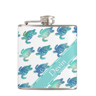 Sea Turtles Blue Green Personalized Flask