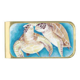 Sea Turtles Gold Finish Money Clip