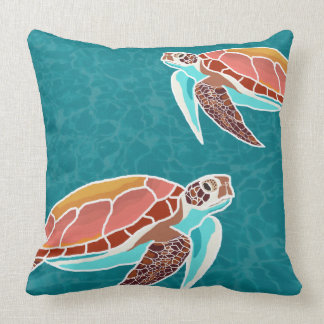 Sea Turtles Illustrated Throw Pillow