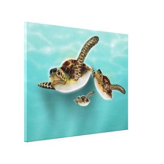 Sea Turtles Illustration Canvas Print