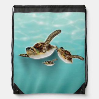 Sea Turtles Illustration Drawstring Backpack