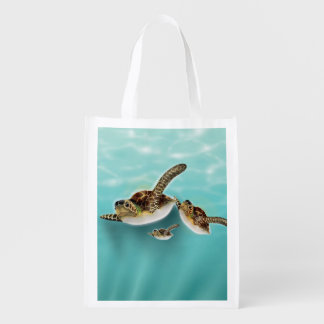 Sea Turtles Illustration Grocery Bag
