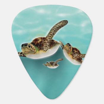 Sea Turtles Illustration Guitar Pick by bartonleclaydesign at Zazzle