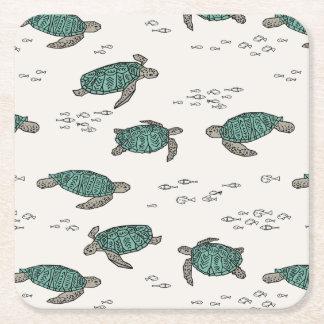 Sea Turtles Ocean Nautical Summer / Andrea Lauren Square Paper Coaster