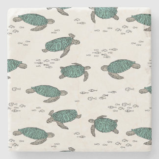 Sea Turtles Ocean Nautical Summer / Andrea Lauren Stone Coaster