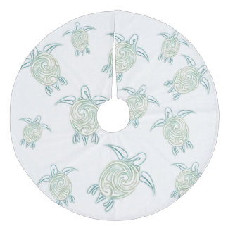 Sea Turtles Pattern White Green Fleece Tree Skirt