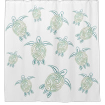 Sea Turtles Pattern White Green Nautical Shower Curtain