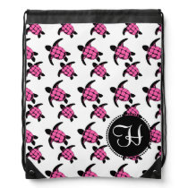 Sea Turtles Pink Drawstring Bag