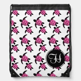 Sea Turtles Pink Drawstring Bag