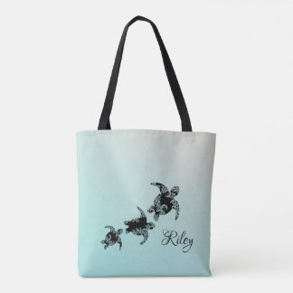 Sea Turtles Silhouette with Name Tote Bag