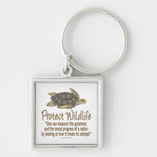 Sea Turtles Silver-Colored Square Keychain