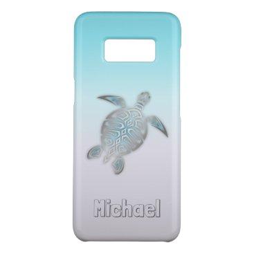 Beach Themed Sea Turtles Silver Monogram Animal Case-Mate Samsung Galaxy S8 Case
