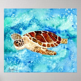 sea turtles square art painting print