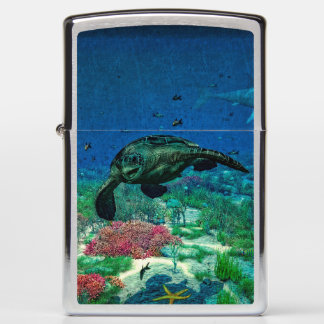 Sea turtles swim through the Mediterranean Sea Zippo Lighter