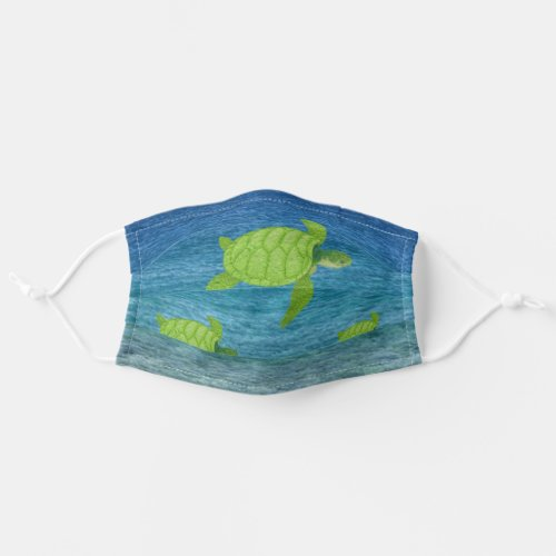Sea turtles swimming in the ocean adult cloth face mask