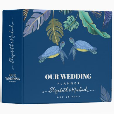 Sea Turtles Wedding Blue Yellow 3 Ring Binder
