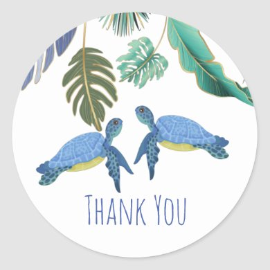 Sea Turtles Wedding Blue Yellow Classic Round Sticker