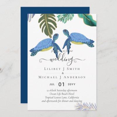Sea Turtles Wedding Blue Yellow Invitation
