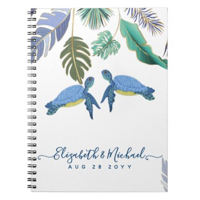 Sea Turtles Wedding Blue Yellow Notebook
