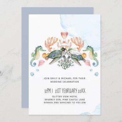 Sea Turtles Wedding Featuring Bride and Groom