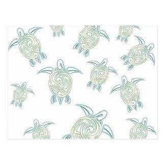 Sea Turtles White Green Pattern Postcard