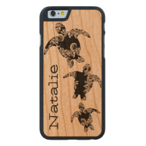 Sea Turtles with Name Carved® Cherry iPhone 6 Slim Case