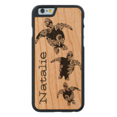 Sea Turtles With Name Carved Cherry Iphone 6 Slim Case at Zazzle