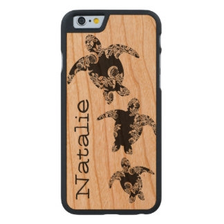 Sea Turtles with Name Carved Cherry iPhone 6 Slim Case