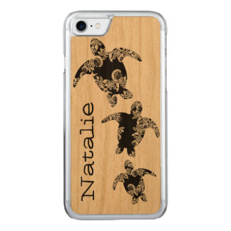 Sea Turtles with Name Carved iPhone 7 Case
