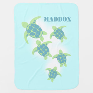 Sea Turtles with Name Swaddle Blanket